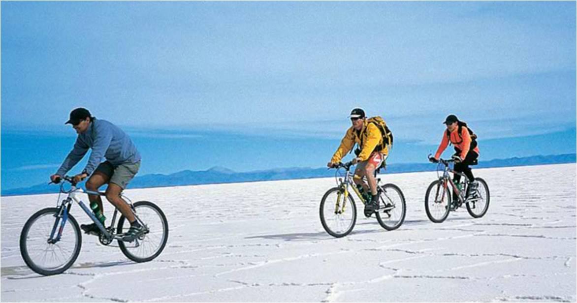 biking in the salt flats